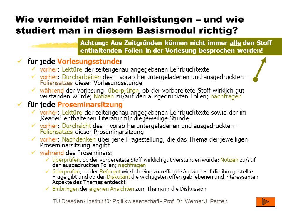 TU Dresden - Institut für Politikwissenschaft - Prof. Dr. Werner J. Patzelt Wie vermeidet man Fehlleistungen – und wie studiert man in diesem Basismod
