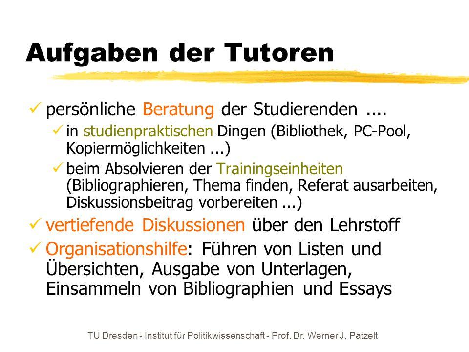 TU Dresden - Institut für Politikwissenschaft - Prof. Dr. Werner J. Patzelt Aufgaben der Tutoren persönliche Beratung der Studierenden.... in studienp