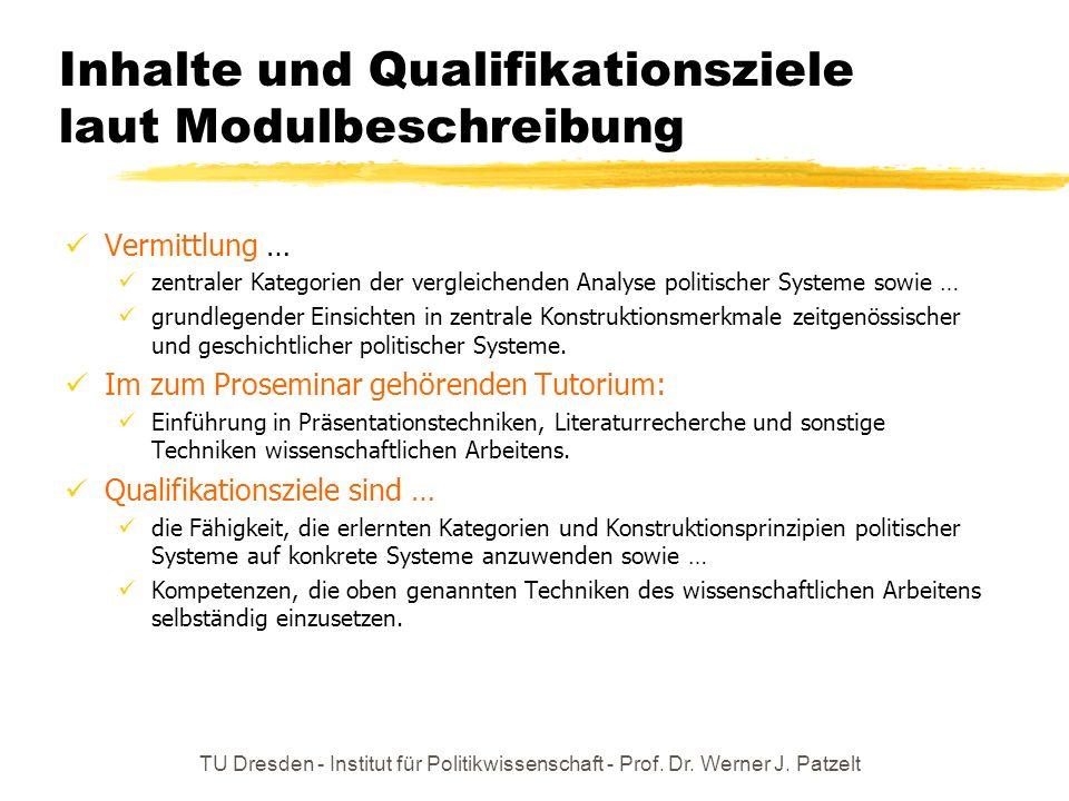 Inhalte und Qualifikationsziele laut Modulbeschreibung Vermittlung … zentraler Kategorien der vergleichenden Analyse politischer Systeme sowie … grund