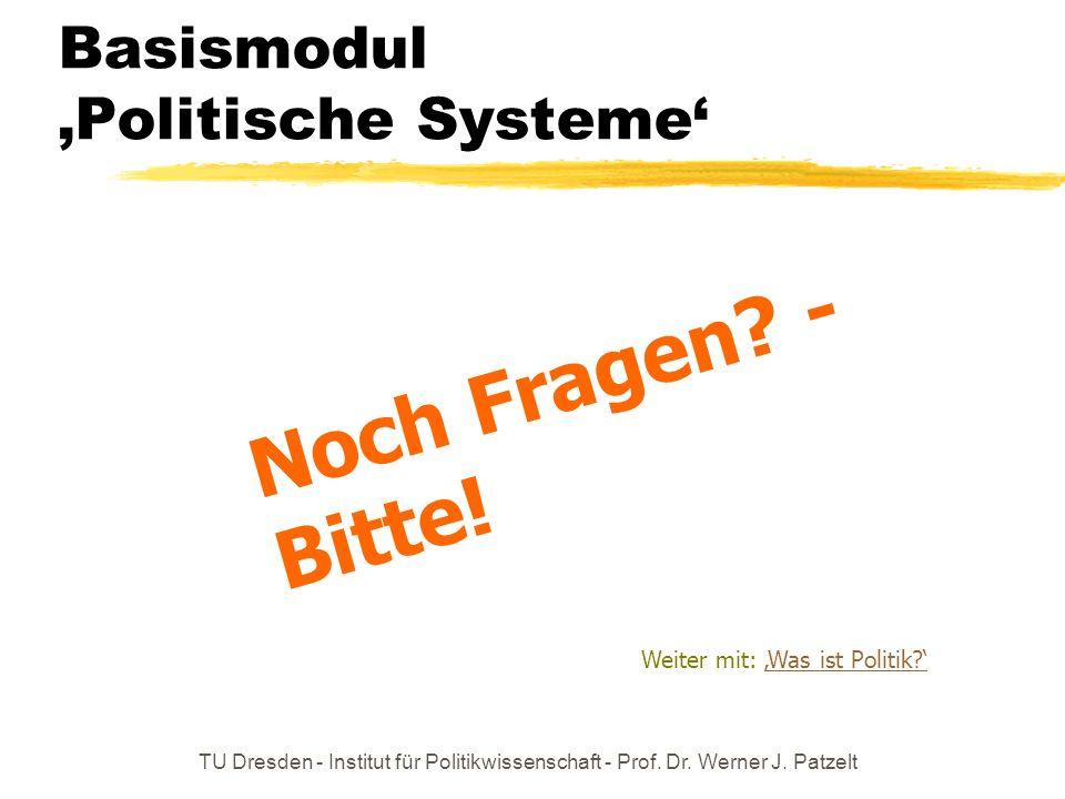 TU Dresden - Institut für Politikwissenschaft - Prof. Dr. Werner J. Patzelt Basismodul Politische Systeme Noch Fragen? - Bitte! Weiter mit: Was ist Po