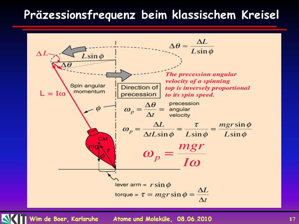Wim de Boer, Karlsruhe Atome und Moleküle, 08.06.2010 17 Präzessionsfrequenz beim klassischem Kreisel