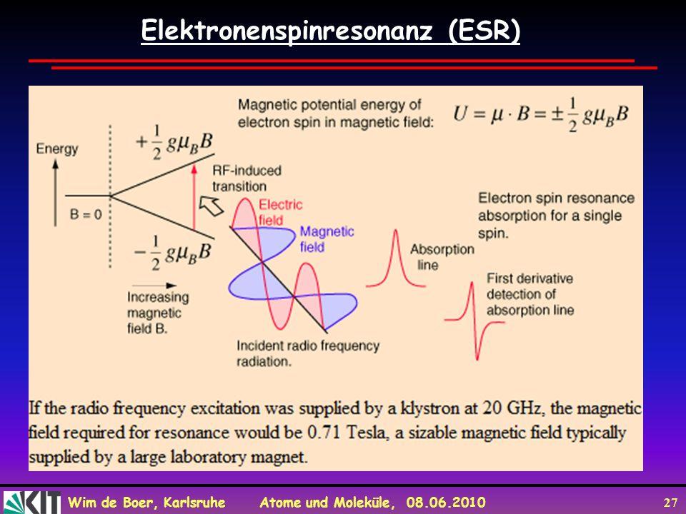 Wim de Boer, Karlsruhe Atome und Moleküle, 08.06.2010 27 Elektronenspinresonanz (ESR)