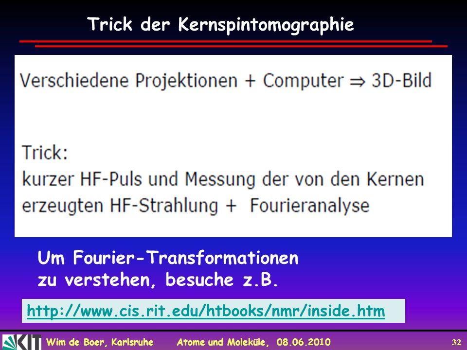 Wim de Boer, Karlsruhe Atome und Moleküle, 08.06.2010 32 Trick der Kernspintomographie http://www.cis.rit.edu/htbooks/nmr/inside.htm Um Fourier-Transf