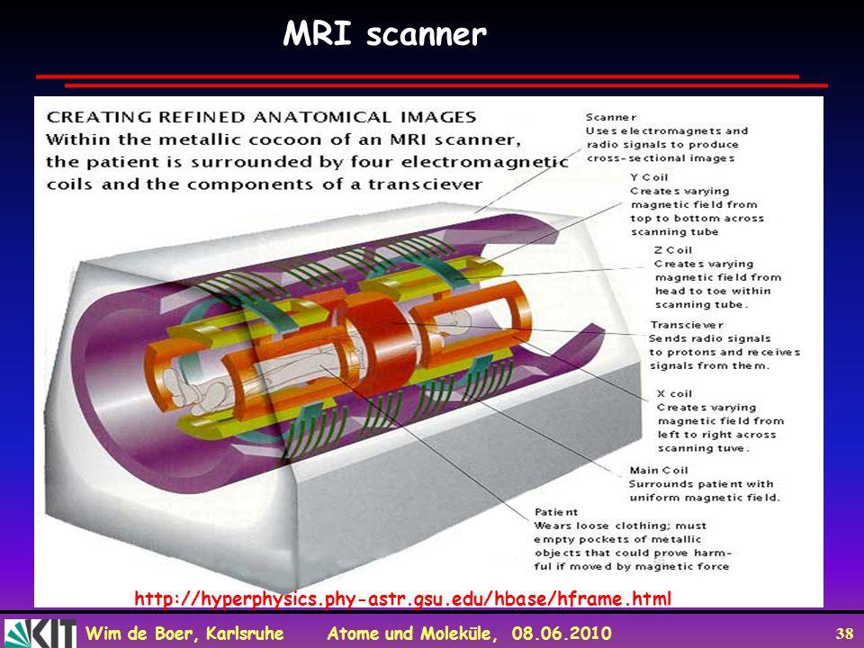 Wim de Boer, Karlsruhe Atome und Moleküle, 08.06.2010 38 MRI scanner http://hyperphysics.phy-astr.gsu.edu/hbase/hframe.html
