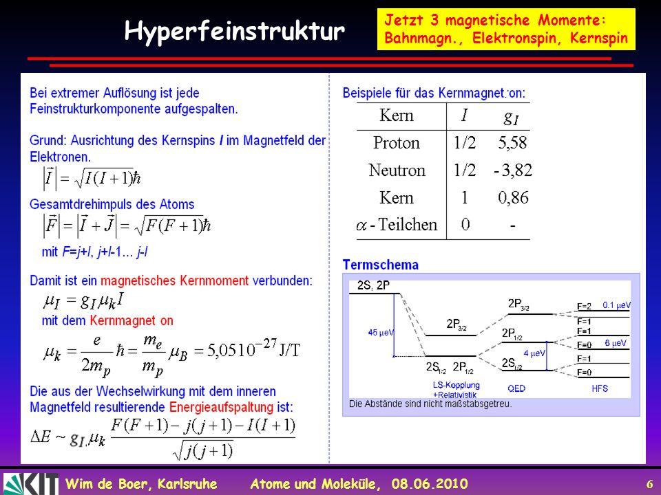 Wim de Boer, Karlsruhe Atome und Moleküle, 08.06.2010 6 Hyperfeinstruktur Jetzt 3 magnetische Momente: Bahnmagn., Elektronspin, Kernspin