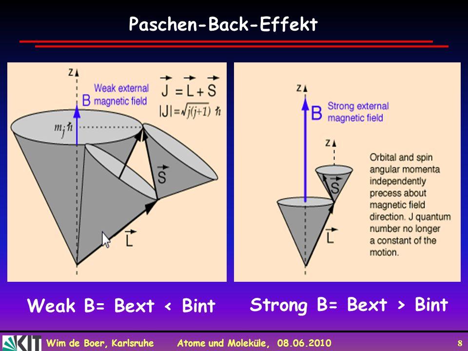 Wim de Boer, Karlsruhe Atome und Moleküle, 08.06.2010 9 Paschen-Back-Effekt