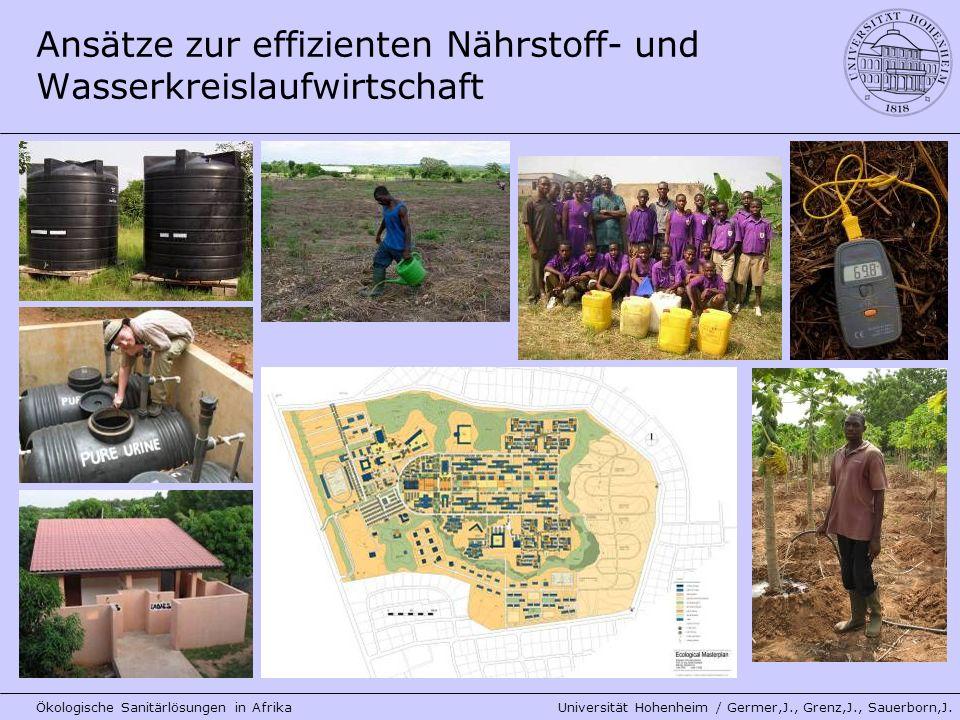 Ansätze zur effizienten Nährstoff- und Wasserkreislaufwirtschaft Ökologische Sanitärlösungen in Afrika Universität Hohenheim / Germer,J., Grenz,J., Sa