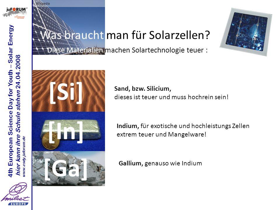 Wikipedia 4th European Science Day for Youth – Solar Energy hier kann ihre Schule stehen 24.04.2008 www.esdy.juforum.de Was braucht man für Solarzellen.
