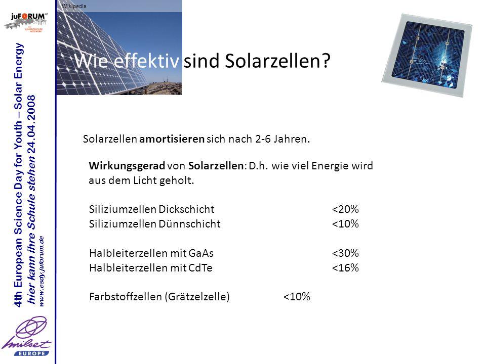 Wikipedia 4th European Science Day for Youth – Solar Energy hier kann ihre Schule stehen 24.04.2008 www.esdy.juforum.de Wie effektiv sind Solarzellen?