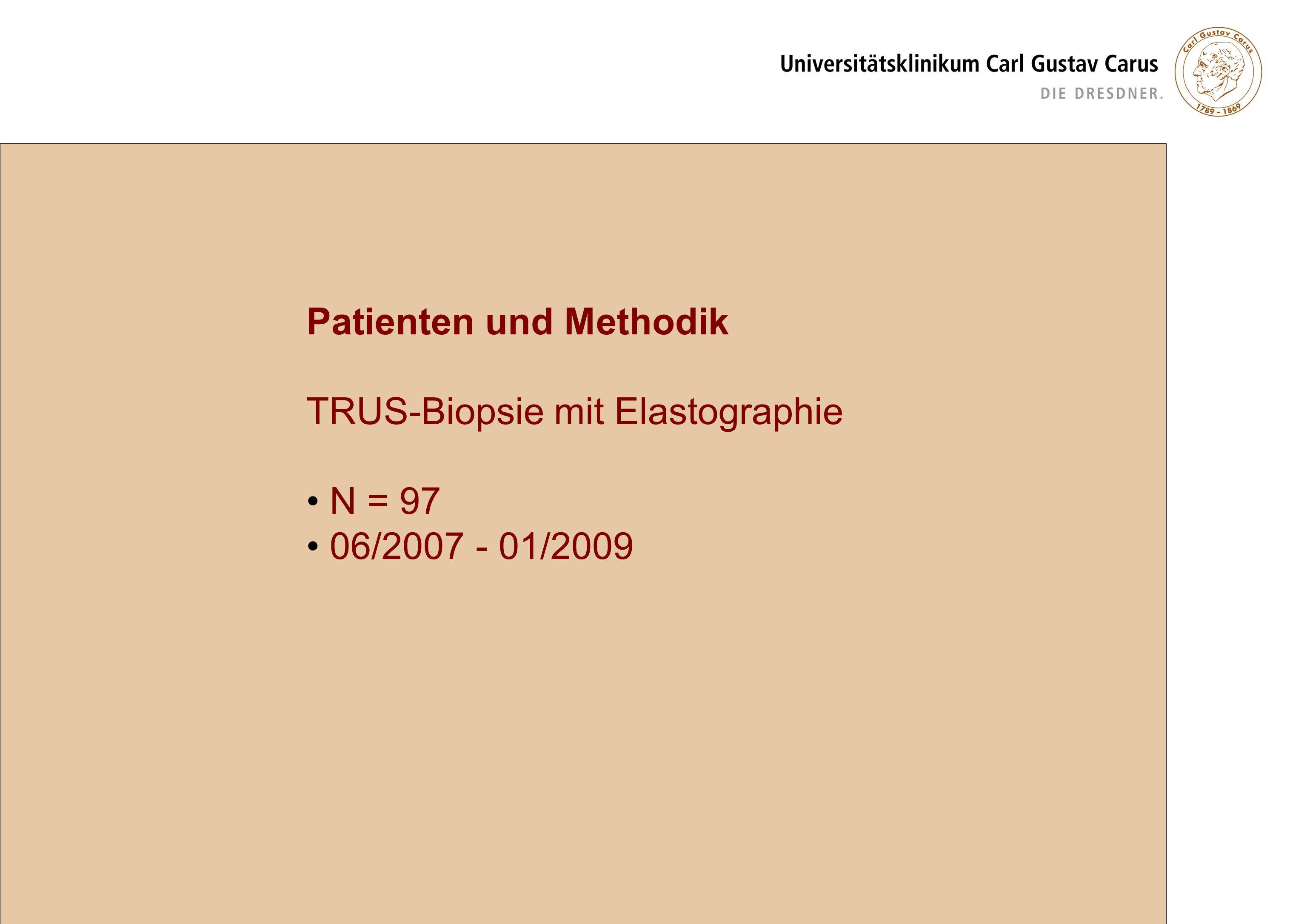 Verteilung des Karzinomnachweises unter den 32 diagnostizierten Karzinomen Ergebnisse 12 (12-28) randomisierte Biopsien 3 (0-9) zusätzliche Zylinder Karzinom in 137 von 1509 (9,08%) Standardzylindern Karzinom in 25 von 295 (8,47%) Elastographie-Zylindern
