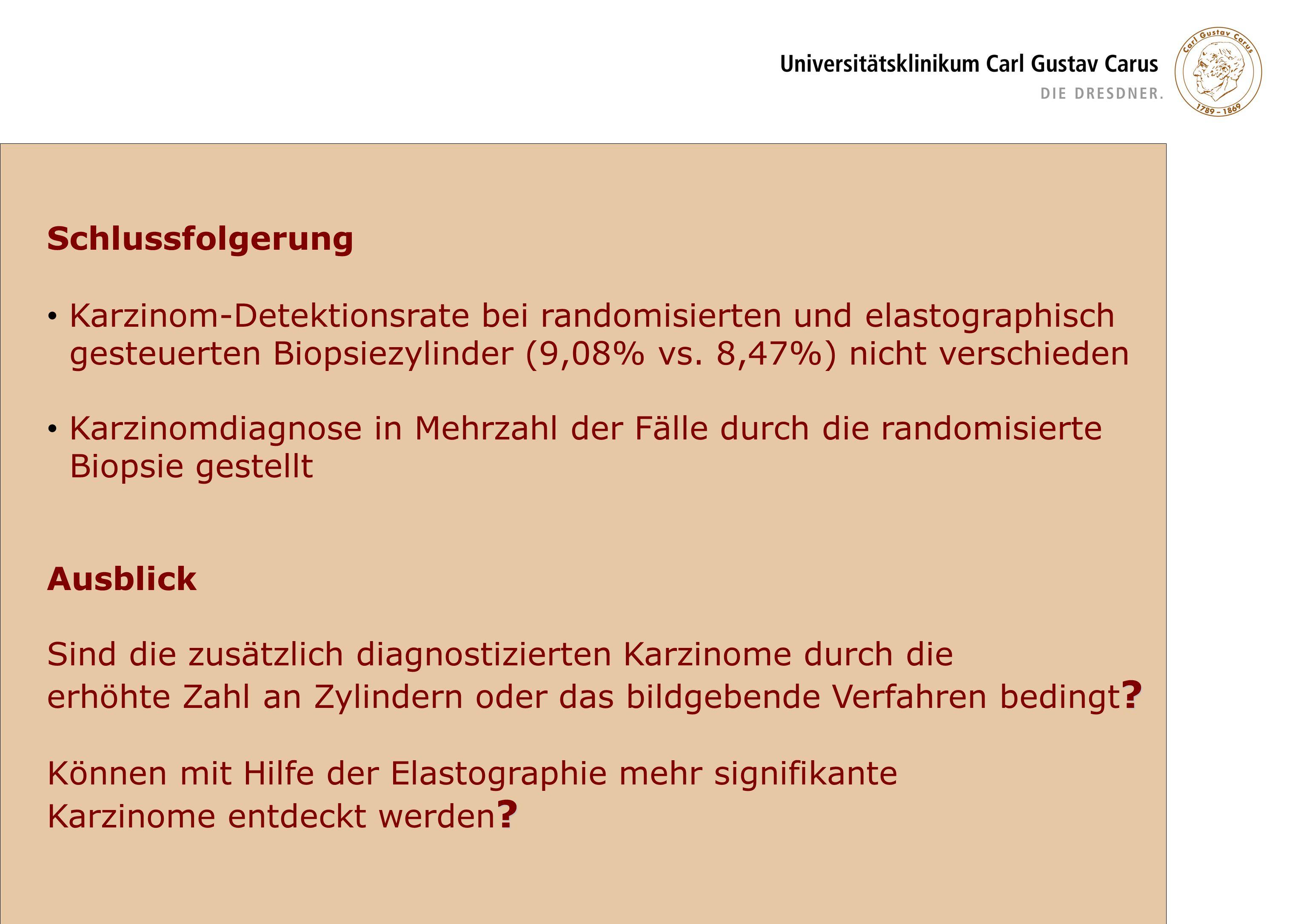 Schlussfolgerung Karzinom-Detektionsrate bei randomisierten und elastographisch gesteuerten Biopsiezylinder (9,08% vs. 8,47%) nicht verschieden Karzin