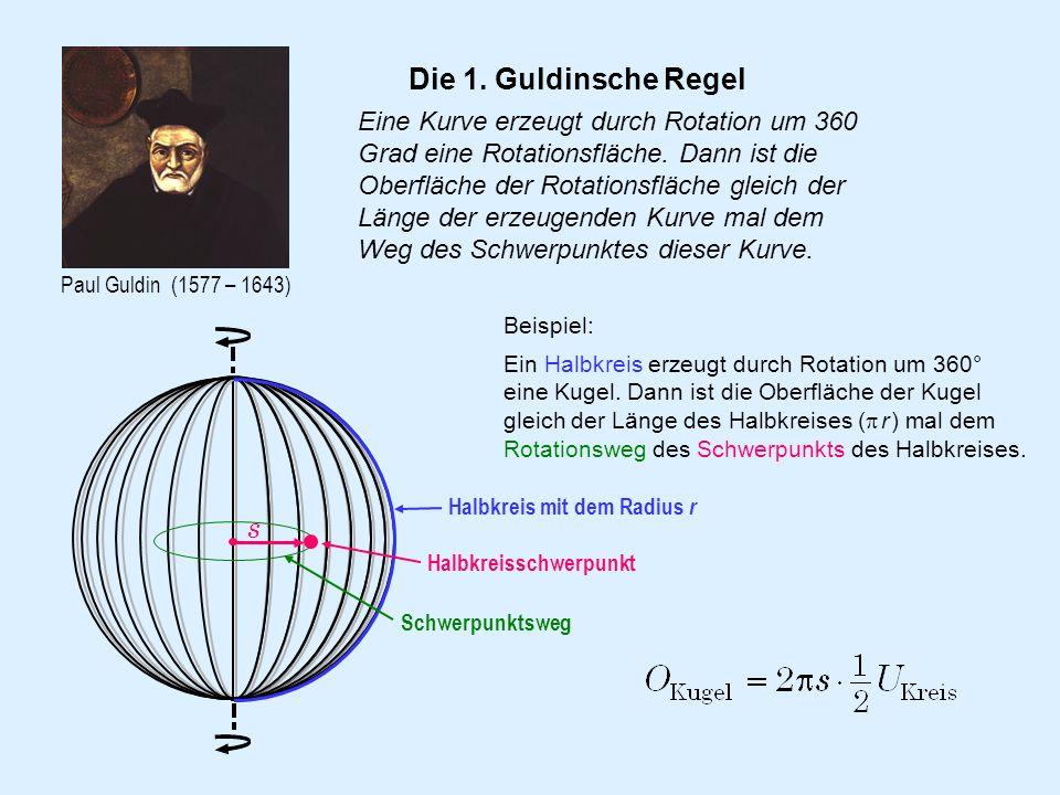 Paul Guldin (1577 – 1643) Die 1. Guldinsche Regel Eine Kurve erzeugt durch Rotation um 360 Grad eine Rotationsfläche. Dann ist die Oberfläche der Rota