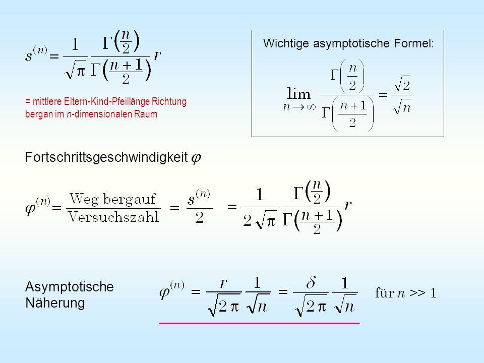 Wichtige asymptotische Formel: Fortschrittsgeschwindigkeit Asymptotische Näherung für n >> 1 = mittlere Eltern-Kind-Pfeillänge Richtung bergan im n -d