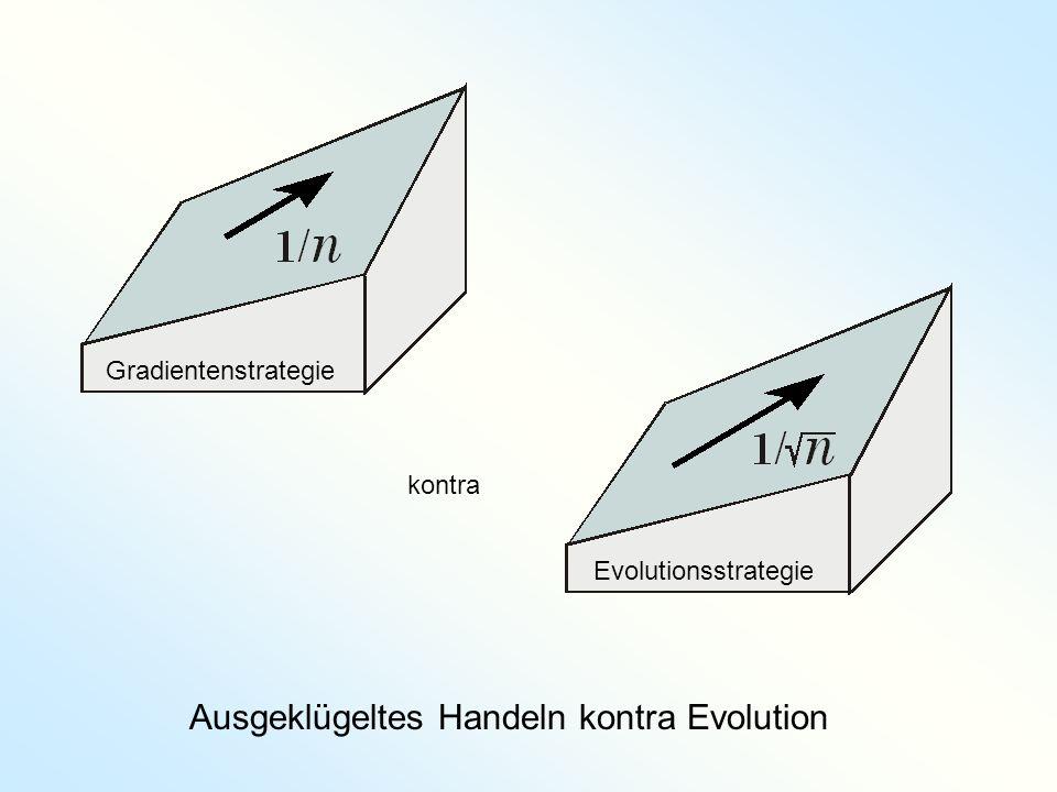 Ausgeklügeltes Handeln kontra Evolution GradientenstrategieEvolutionsstrategie kontra