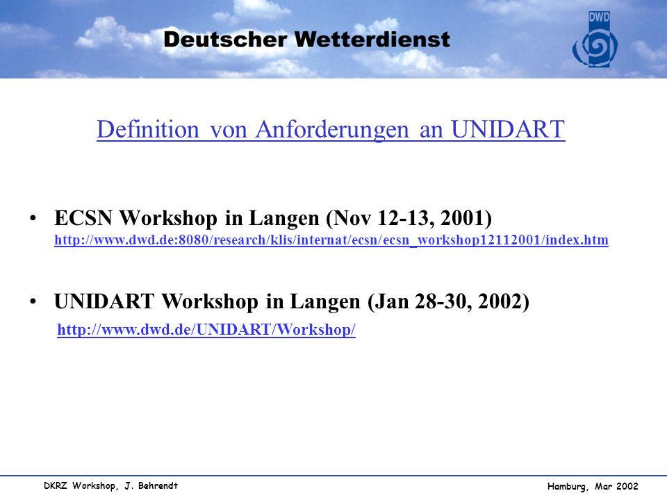 Hamburg, Mar 2002 DKRZ Workshop, J. Behrendt Definition von Anforderungen an UNIDART ECSN Workshop in Langen (Nov 12-13, 2001) http://www.dwd.de:8080/