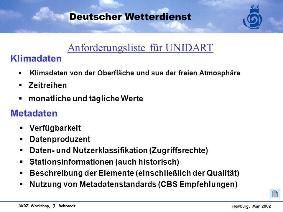 Hamburg, Mar 2002 DKRZ Workshop, J. Behrendt Hamburg, Mar 2002 Klimadaten Klimadaten von der Oberfläche und aus der freien Atmosphäre Zeitreihen monat
