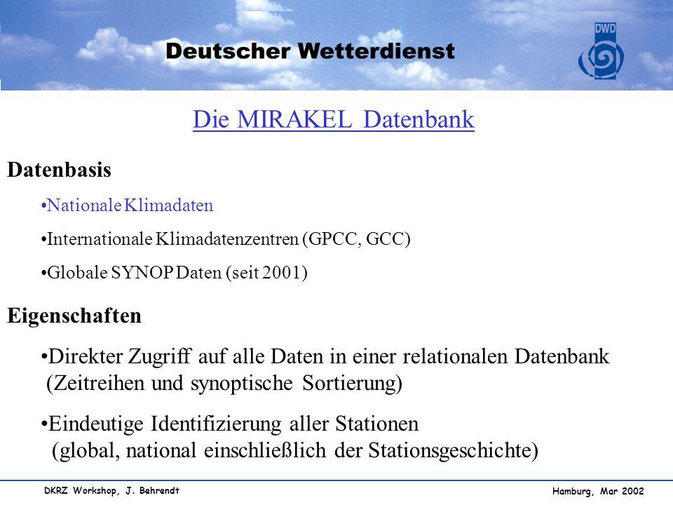 Hamburg, Mar 2002 DKRZ Workshop, J. Behrendt Datenbasis Nationale Klimadaten Internationale Klimadatenzentren (GPCC, GCC) Globale SYNOP Daten (seit 20