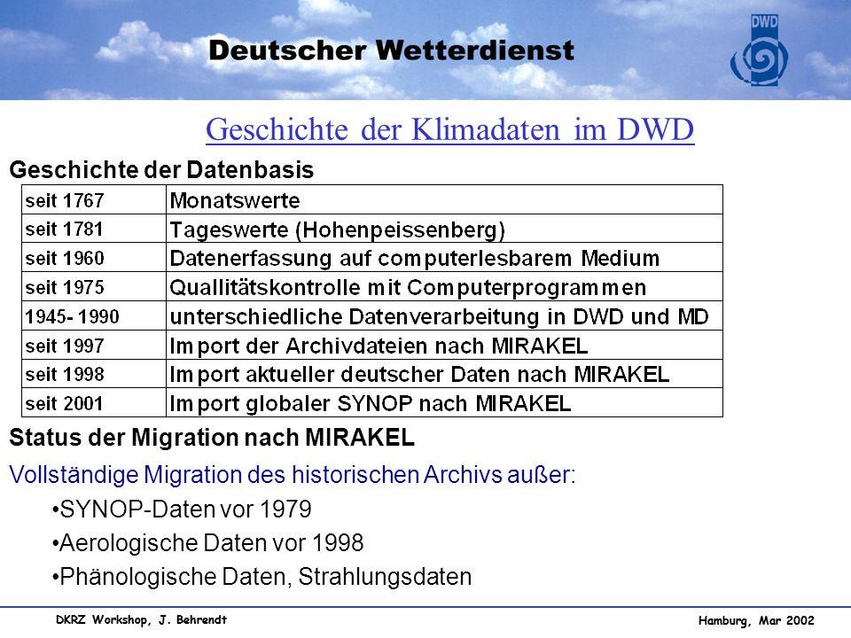 Hamburg, Mar 2002 DKRZ Workshop, J. Behrendt Geschichte der Datenbasis Status der Migration nach MIRAKEL Vollständige Migration des historischen Archi