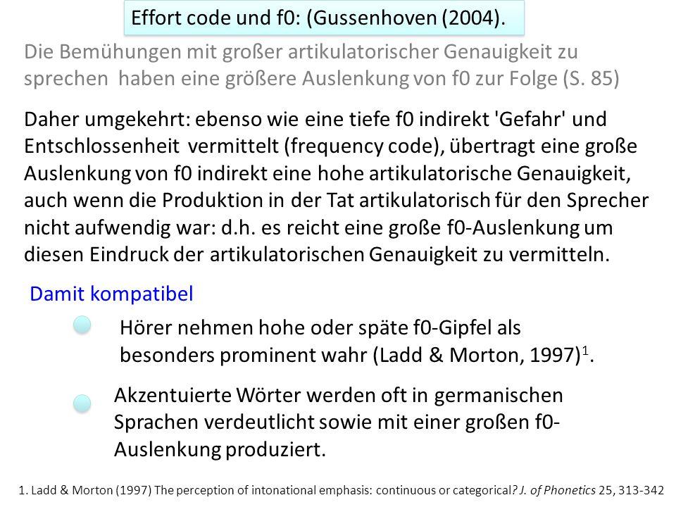 Gussenhoven (2004) und Effort-code Lindblom (1990) 1 : Theorie zur Hyper- und Hypoartikulation Die Bemühungen mit großer artikulatorischer Genauigkeit zu sprechen haben eine größere Auslenkung von f0 zur Folge An für den Hörer wichtigen Informationsstellen wird die Sprache verdeutlicht.