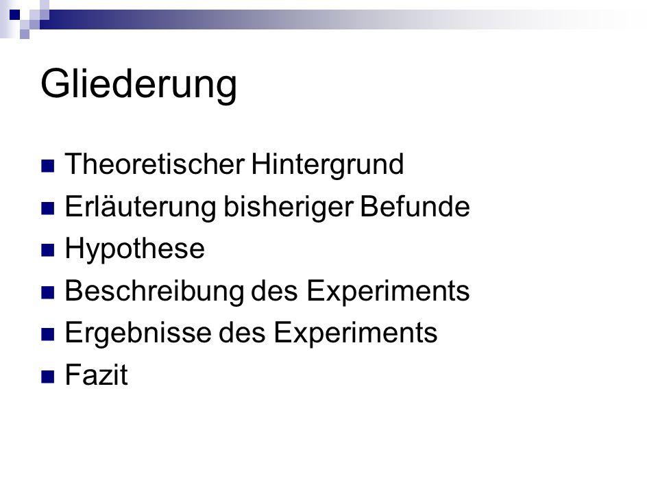 Gliederung Theoretischer Hintergrund Erläuterung bisheriger Befunde Hypothese Beschreibung des Experiments Ergebnisse des Experiments Fazit