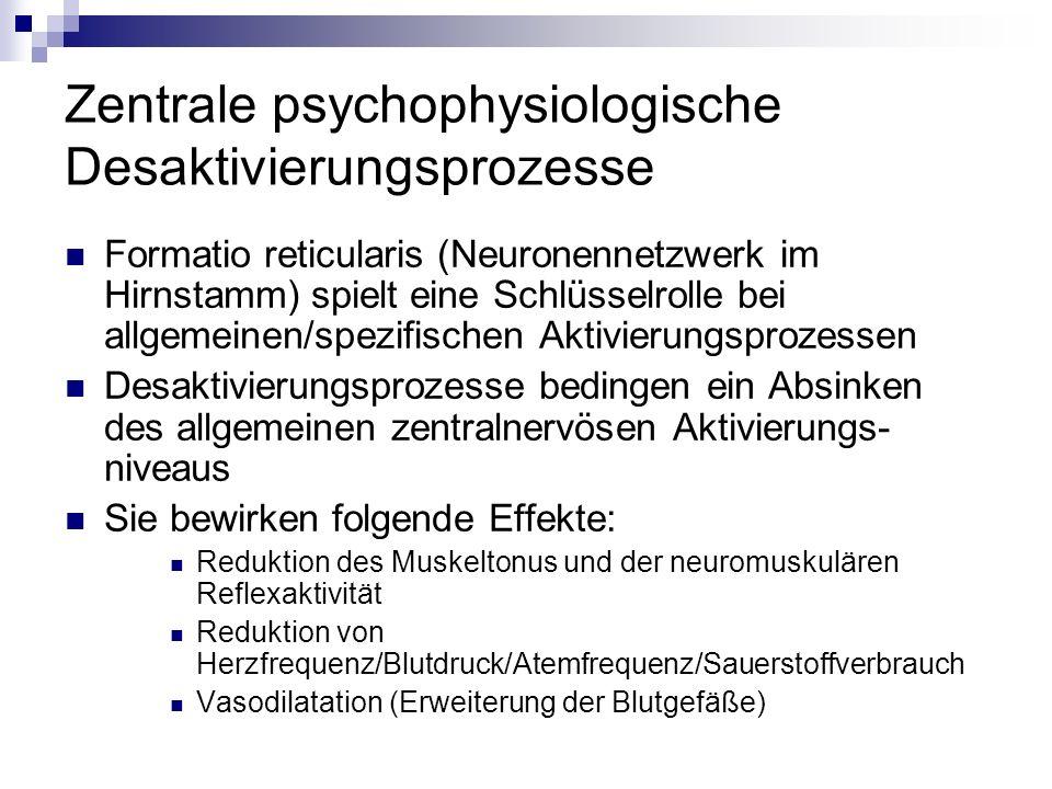 Zentrale psychophysiologische Desaktivierungsprozesse Formatio reticularis (Neuronennetzwerk im Hirnstamm) spielt eine Schlüsselrolle bei allgemeinen/