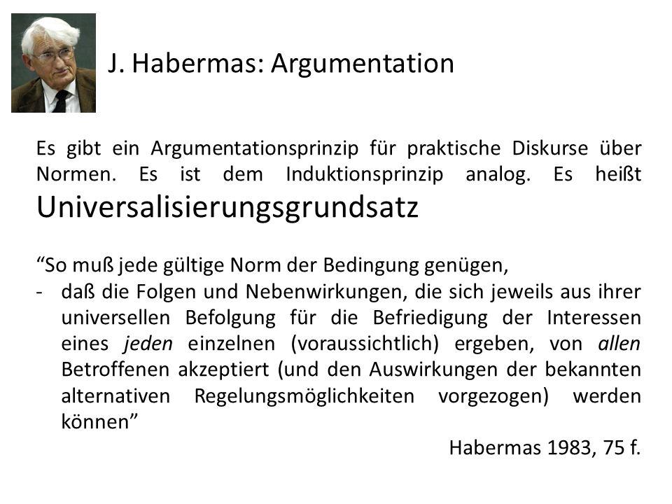 J. Habermas: Argumentation Es gibt ein Argumentationsprinzip für praktische Diskurse über Normen. Es ist dem Induktionsprinzip analog. Es heißt Univer