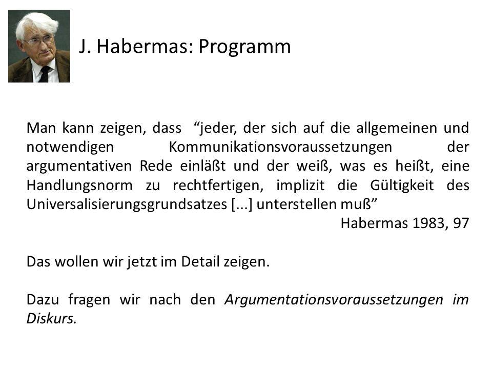 J. Habermas: Programm Man kann zeigen, dass jeder, der sich auf die allgemeinen und notwendigen Kommunikationsvoraussetzungen der argumentativen Rede