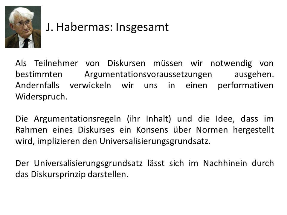 J. Habermas: Insgesamt Als Teilnehmer von Diskursen müssen wir notwendig von bestimmten Argumentationsvoraussetzungen ausgehen. Andernfalls verwickeln