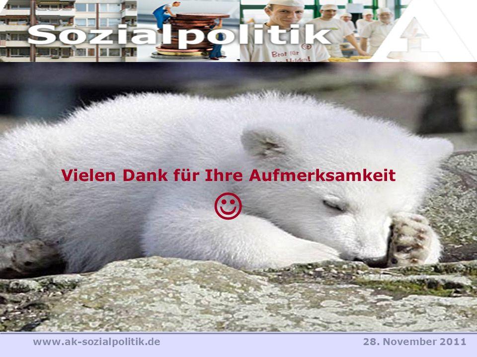 28. November 2011www.ak-sozialpolitik.de Vielen Dank für Ihre Aufmerksamkeit