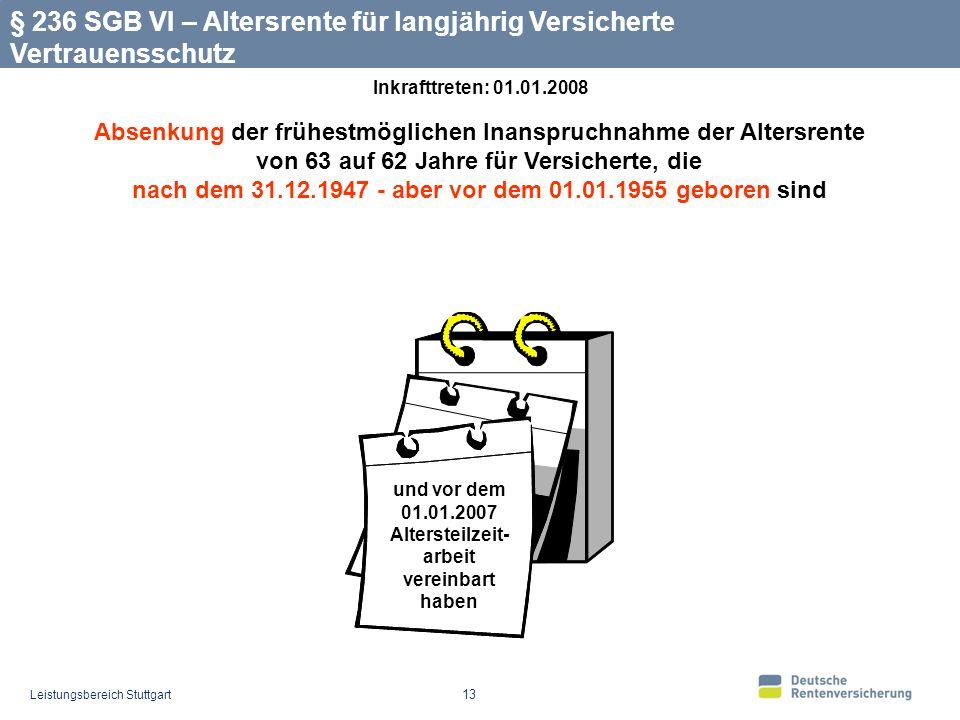 Leistungsbereich Stuttgart 13 Absenkung der frühestmöglichen Inanspruchnahme der Altersrente von 63 auf 62 Jahre für Versicherte, die nach dem 31.12.1947 - aber vor dem 01.01.1955 geboren sind § 236 SGB VI – Altersrente für langjährig Versicherte Vertrauensschutz und vor dem 01.01.2007 Altersteilzeit- arbeit vereinbart haben Inkrafttreten: 01.01.2008
