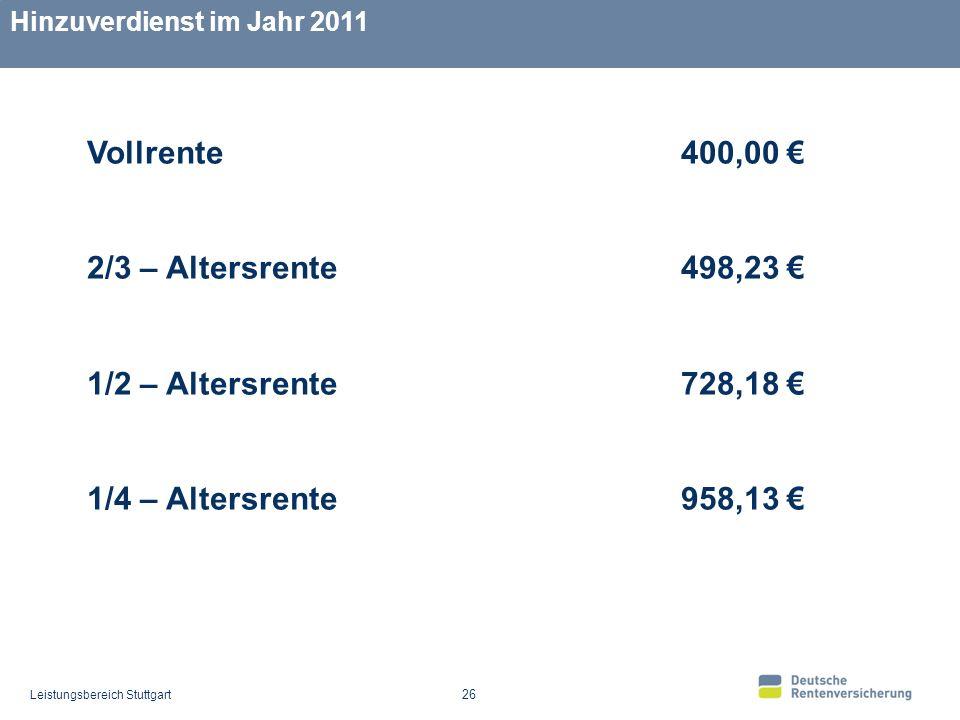 Leistungsbereich Stuttgart 26 Hinzuverdienst im Jahr 2011 Vollrente 400,00 2/3 – Altersrente 498,23 1/2 – Altersrente 728,18 1/4 – Altersrente 958,13
