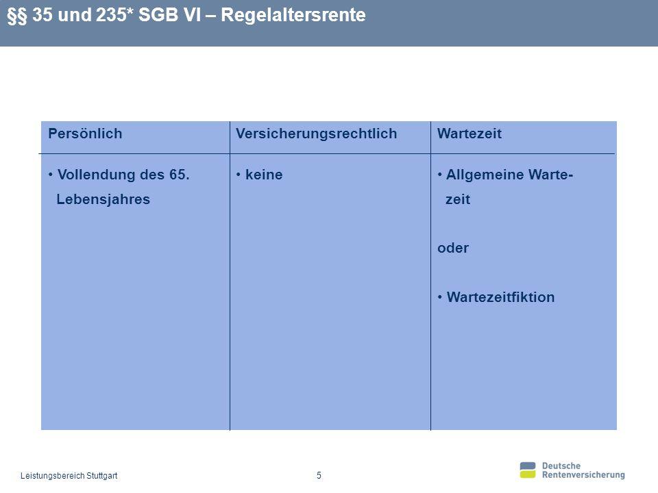 Leistungsbereich Stuttgart 5 §§ 35 und 235* SGB VI – Regelaltersrente Allgemeine Warte- zeit oder Wartezeitfiktion keine Vollendung des 65.