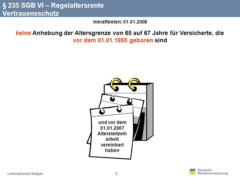 Leistungsbereich Stuttgart 8 § 235 SGB VI – Regelaltersrente Vertrauensschutz und vor dem 01.01.2007 Altersteilzeit- arbeit vereinbart haben keine Anhebung der Altersgrenze von 65 auf 67 Jahre für Versicherte, die vor dem 01.01.1955 geboren sind Inkrafttreten: 01.01.2008