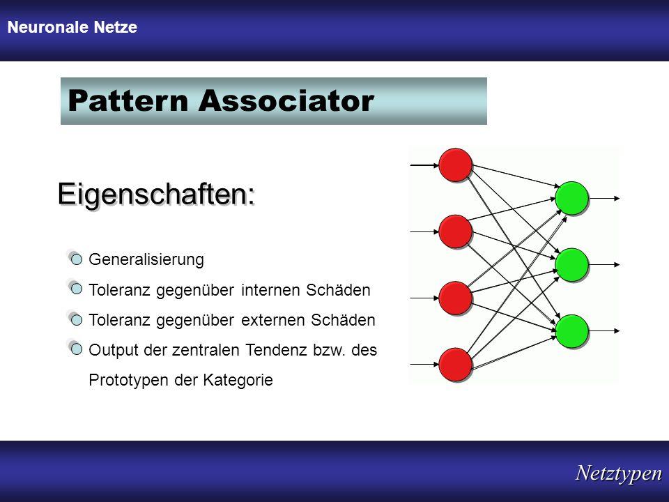 Pattern Associator Eigenschaften: Generalisierung Toleranz gegenüber internen Schäden Toleranz gegenüber externen Schäden Output der zentralen Tendenz