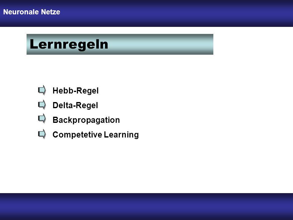 Lernregeln Hebb-Regel Delta-Regel Backpropagation Competetive Learning Neuronale Netze