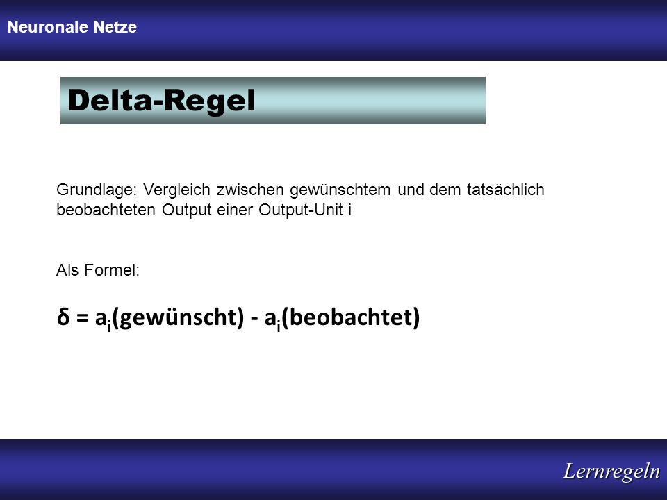 Delta-Regel δ = a i (gewünscht) - a i (beobachtet) Grundlage: Vergleich zwischen gewünschtem und dem tatsächlich beobachteten Output einer Output-Unit