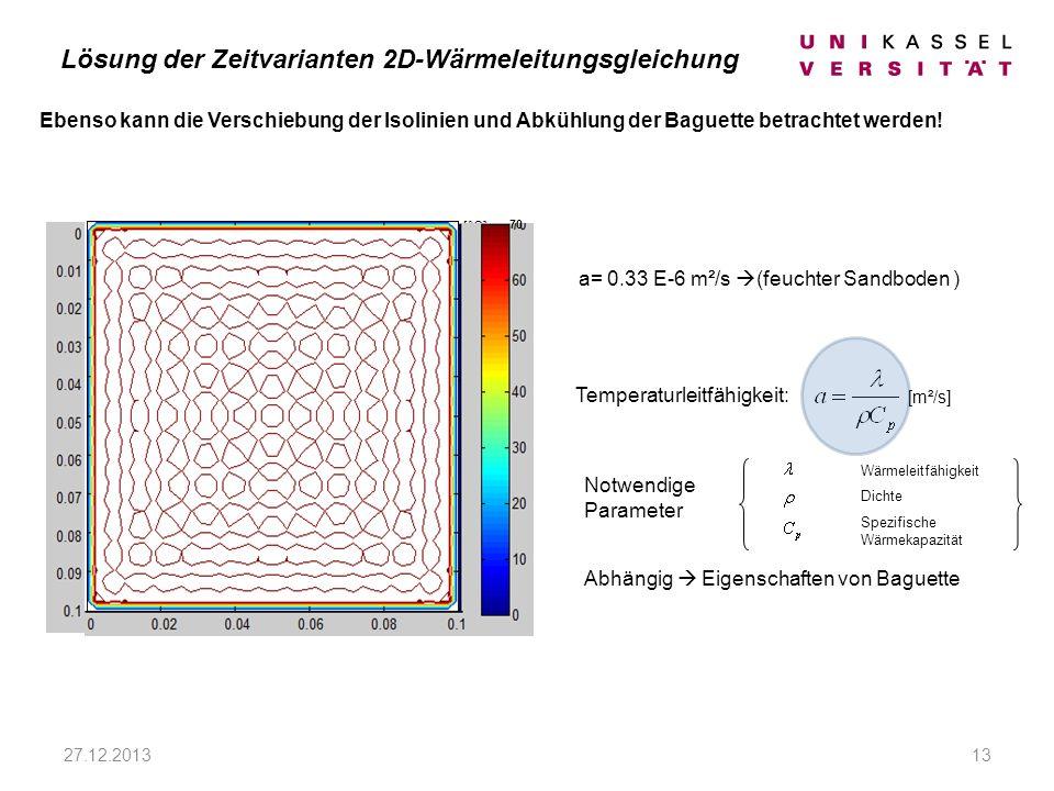 [°C] Ebenso kann die Verschiebung der Isolinien und Abkühlung der Baguette betrachtet werden.