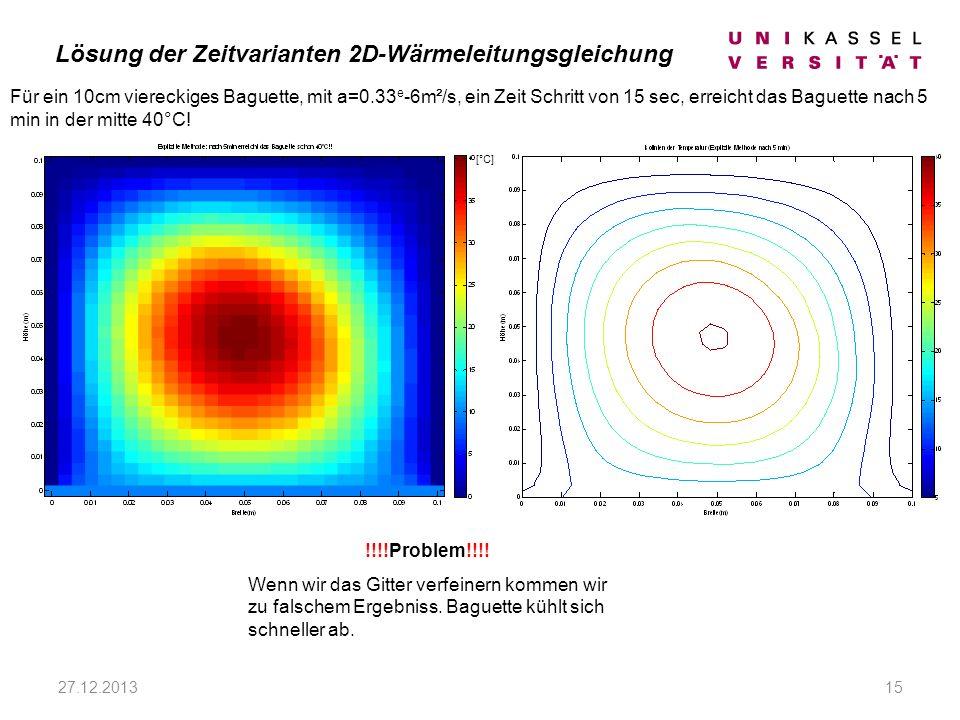 27.12.201315 Für ein 10cm viereckiges Baguette, mit a=0.33 e -6m²/s, ein Zeit Schritt von 15 sec, erreicht das Baguette nach 5 min in der mitte 40°C.