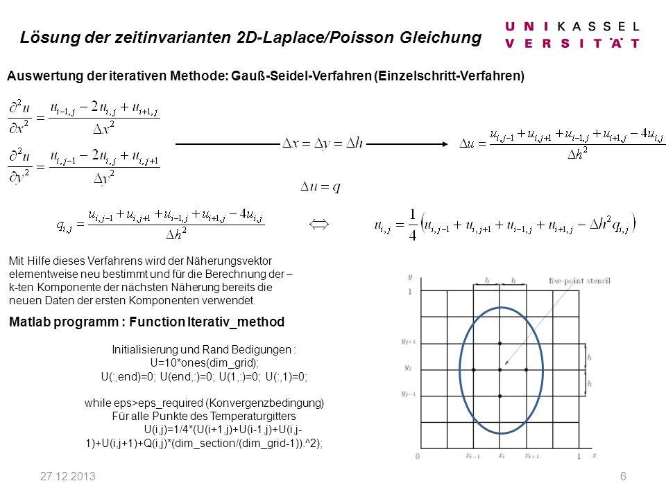 27.12.20136 Auswertung der iterativen Methode: Gauß-Seidel-Verfahren (Einzelschritt-Verfahren) Matlab programm : Function Iterativ_method Initialisierung und Rand Bedigungen : U=10*ones(dim_grid); U(:,end)=0; U(end,:)=0; U(1,:)=0; U(:,1)=0; while eps>eps_required (Konvergenzbedingung) Für alle Punkte des Temperaturgitters U(i,j)=1/4*(U(i+1,j)+U(i-1,j)+U(i,j- 1)+U(i,j+1)+Q(i,j)*(dim_section/(dim_grid-1)).^2); Mit Hilfe dieses Verfahrens wird der Näherungsvektor elementweise neu bestimmt und für die Berechnung der – k-ten Komponente der nächsten Näherung bereits die neuen Daten der ersten Komponenten verwendet.
