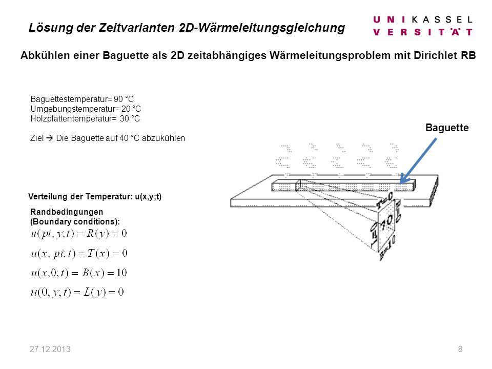 27.12.20138 Abkühlen einer Baguette als 2D zeitabhängiges Wärmeleitungsproblem mit Dirichlet RB Lösung der Zeitvarianten 2D-Wärmeleitungsgleichung Verteilung der Temperatur: u(x,y;t) Randbedingungen (Boundary conditions): Baguette Baguettestemperatur= 90 °C Umgebungstemperatur= 20 °C Holzplattentemperatur= 30 °C Ziel Die Baguette auf 40 °C abzukühlen