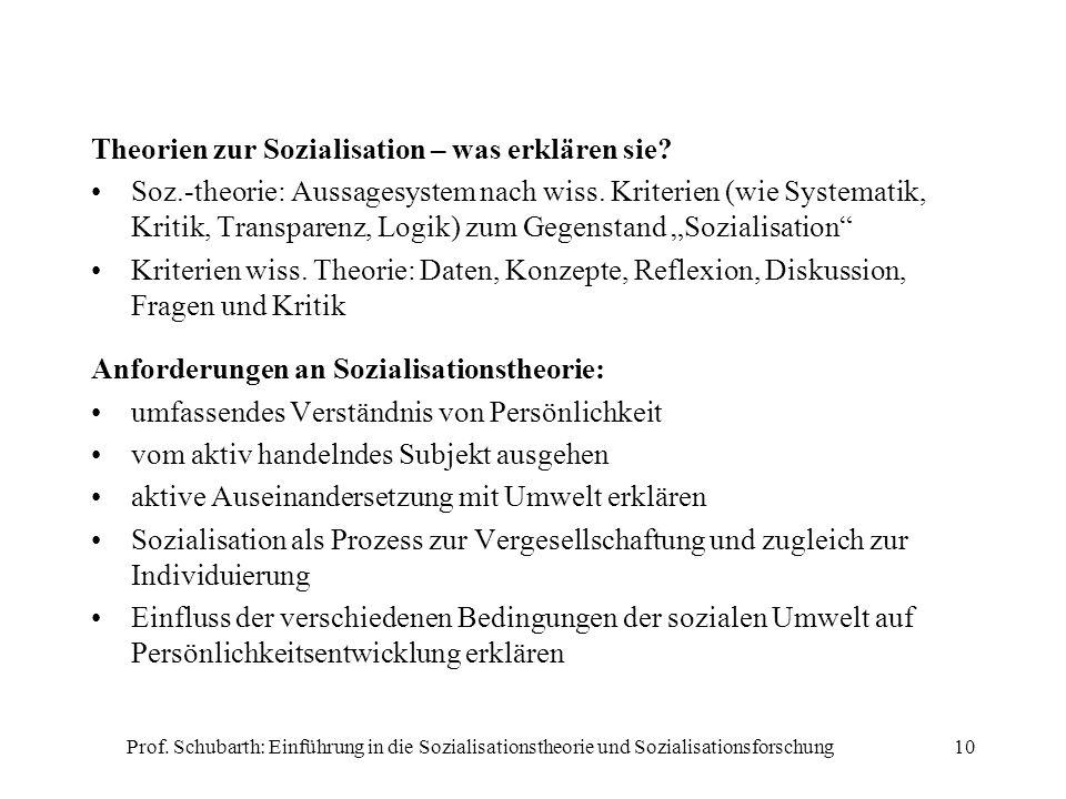 Prof. Schubarth: Einführung in die Sozialisationstheorie und Sozialisationsforschung10 Theorien zur Sozialisation – was erklären sie? Soz.-theorie: Au