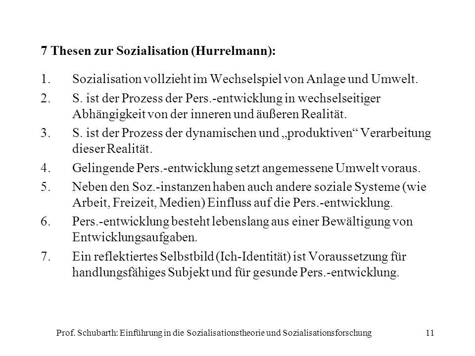 Prof. Schubarth: Einführung in die Sozialisationstheorie und Sozialisationsforschung11 7 Thesen zur Sozialisation (Hurrelmann): 1.Sozialisation vollzi