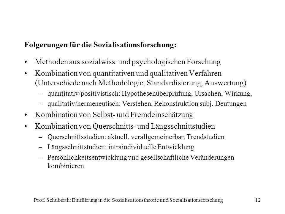 Prof. Schubarth: Einführung in die Sozialisationstheorie und Sozialisationsforschung12 Folgerungen für die Sozialisationsforschung: Methoden aus sozia