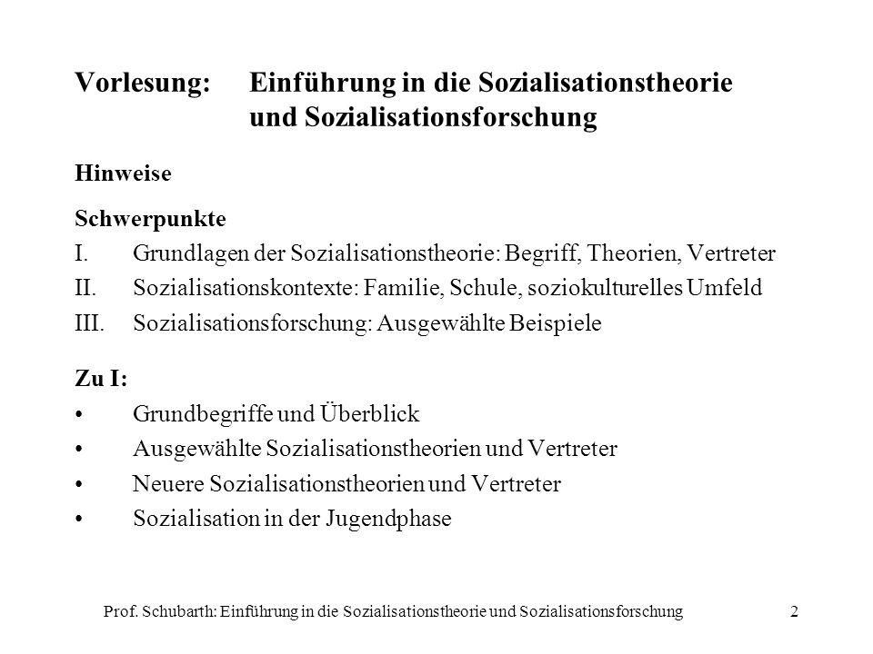 Prof. Schubarth: Einführung in die Sozialisationstheorie und Sozialisationsforschung2 Vorlesung:Einführung in die Sozialisationstheorie und Sozialisat