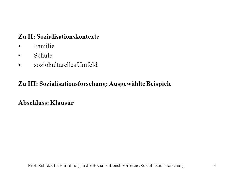 Prof. Schubarth: Einführung in die Sozialisationstheorie und Sozialisationsforschung3 Zu II: Sozialisationskontexte Familie Schule soziokulturelles Um