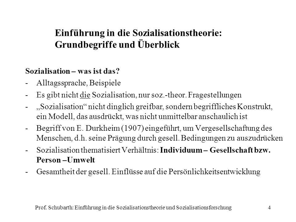 Prof. Schubarth: Einführung in die Sozialisationstheorie und Sozialisationsforschung4 Einführung in die Sozialisationstheorie: Grundbegriffe und Überb