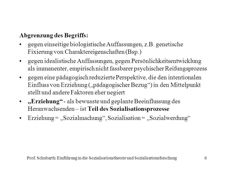 Prof. Schubarth: Einführung in die Sozialisationstheorie und Sozialisationsforschung6 Abgrenzung des Begriffs: gegen einseitige biologistische Auffass