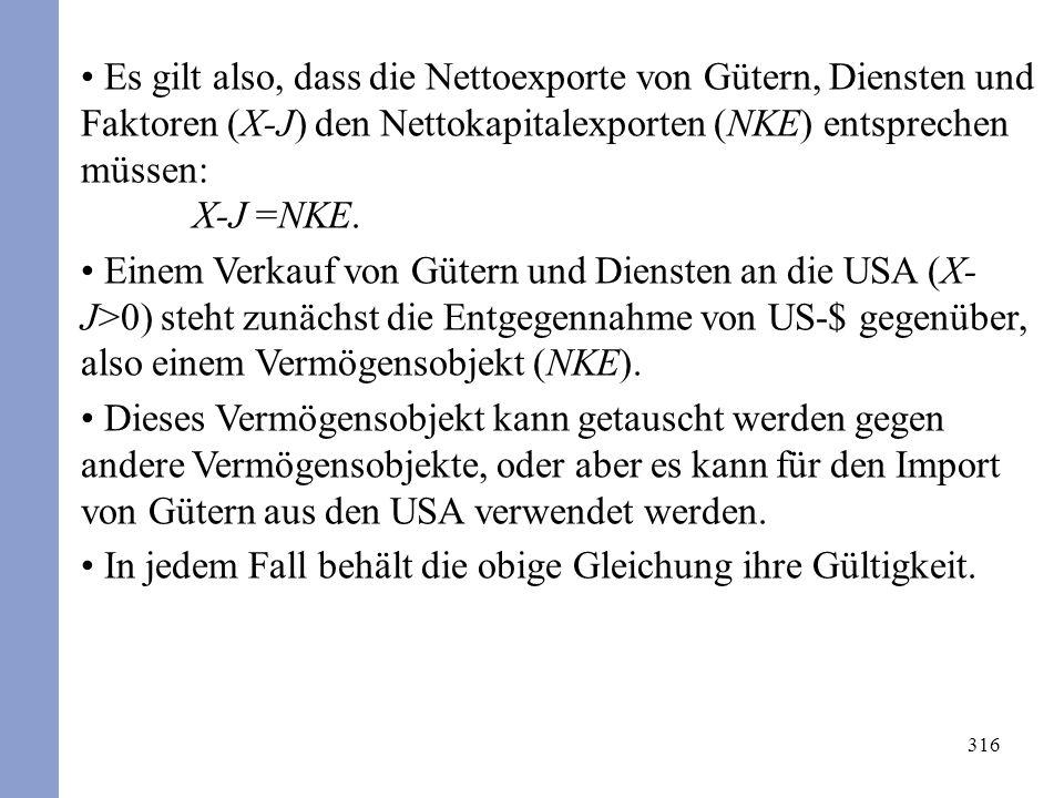 316 Es gilt also, dass die Nettoexporte von Gütern, Diensten und Faktoren (X-J) den Nettokapitalexporten (NKE) entsprechen müssen: X-J =NKE. Einem Ver