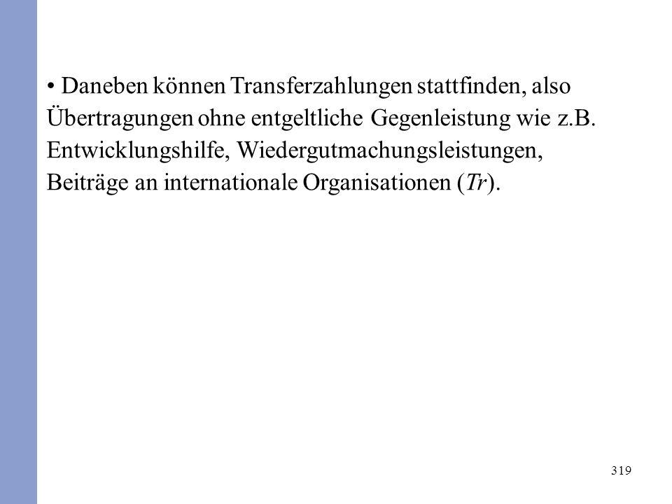 319 Daneben können Transferzahlungen stattfinden, also Übertragungen ohne entgeltliche Gegenleistung wie z.B. Entwicklungshilfe, Wiedergutmachungsleis