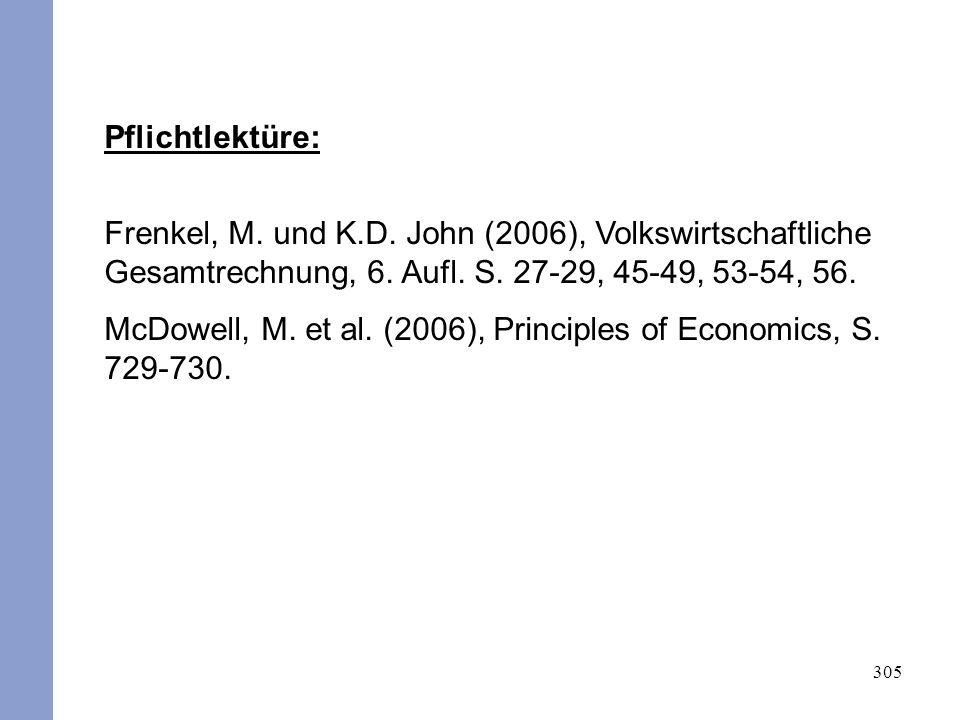 305 Pflichtlektüre: Frenkel, M. und K.D. John (2006), Volkswirtschaftliche Gesamtrechnung, 6. Aufl. S. 27-29, 45-49, 53-54, 56. McDowell, M. et al. (2